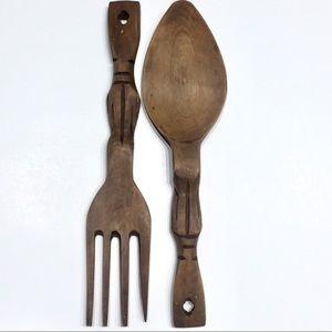 Other - Vintage Wooden Serving Spoon & Fork Carved Wood